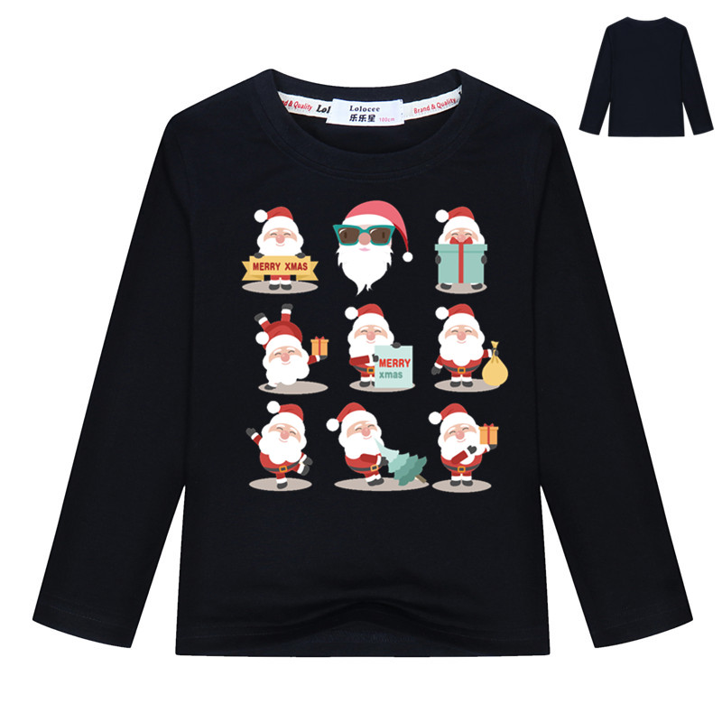 все цены на Fashion Santa Claus Reindeer Kids Long sleeve Christmas Printed T-Shirt Casual Tops For Girls Boys Merry Christmas T Shirt 3-14T