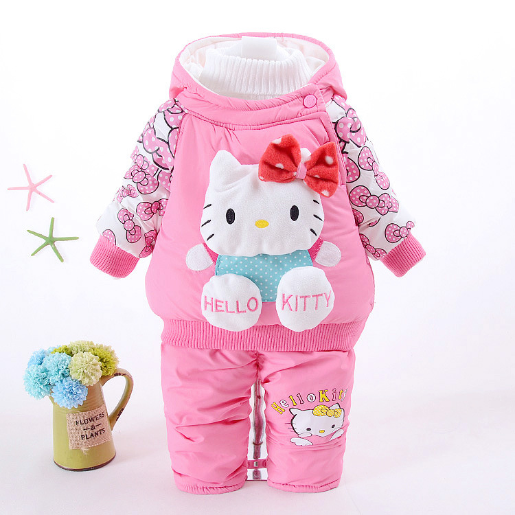 Fashion Newborn Baby Girls Rompers Toddler Girls Hello Kitty Thick Warm Cotton-padded Coat Clothing Set Winter Clothes Suit toddler girls hello kitty clothes set winter thick warm clothes plus velvet coat pants rabbi kids infant sport suits w133