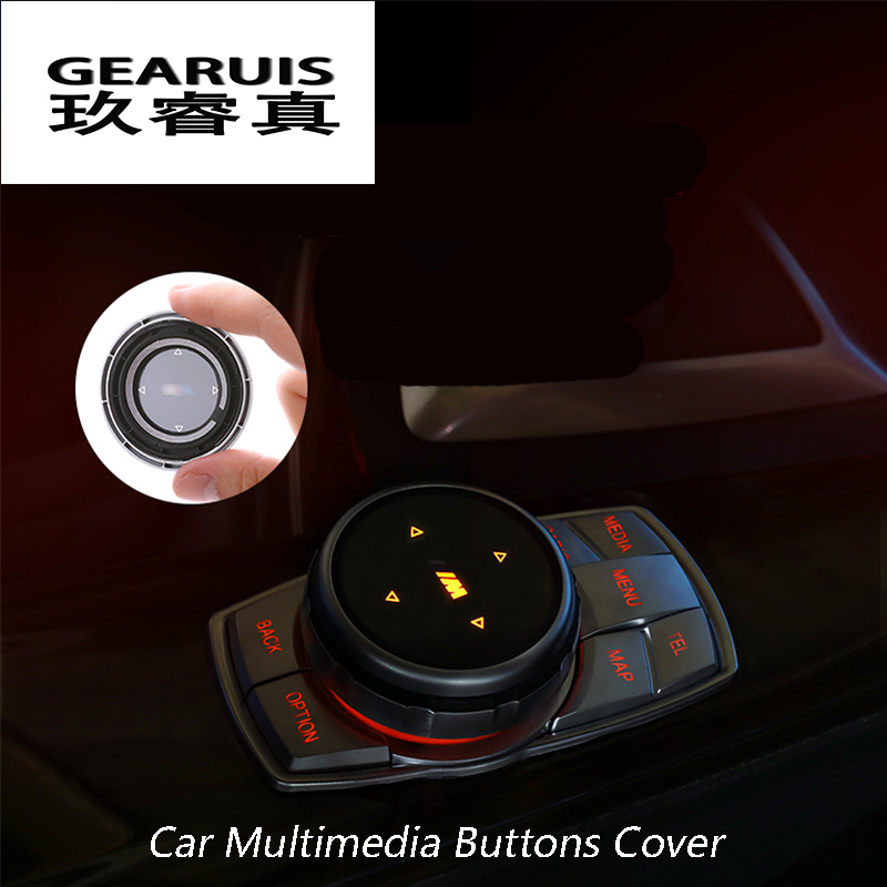 iDrive Car Multimedia Buttons Cover M Emblem Stickers for BMW X1 X3 X5 X6 F30 E90 E92 F10 F18 F11 F07 GT Z4 F15 F16 F25 E60 E61