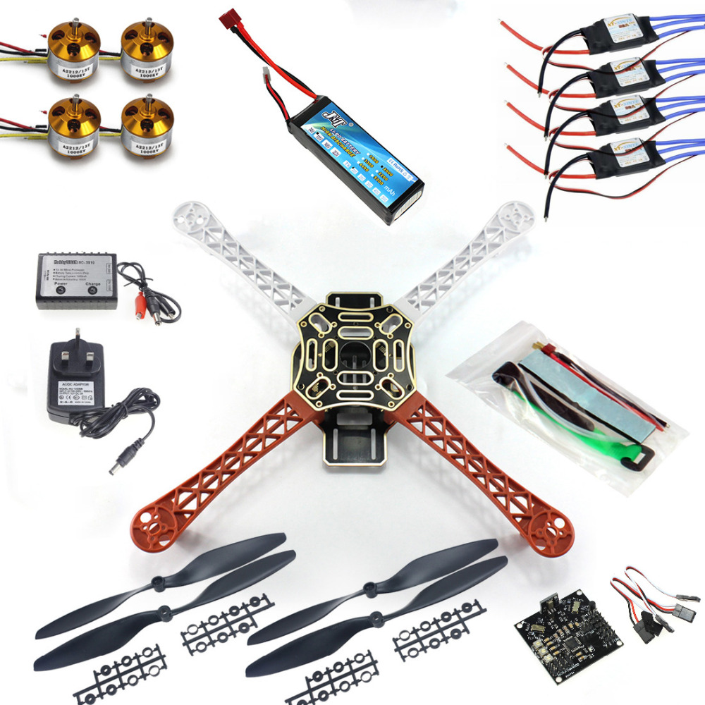 цена F02192-B RC Quadcopter 4 axle Drone ARF Kit No TX RX : KK V2.3 Flight Control A2212 1000KV Motor 30A ESC Lipo F450 Flamewheel