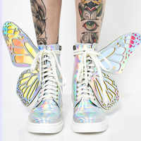 2019 New Women Silver Sneakers Lace Up Flats Casual Winter Boots Shiny Butterfly Wings Ladies Short Booties Fashion Zapatillas