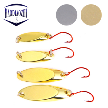 Купить с кэшбэком 1.5g/2g/3.5g/5g Metal Spoon Sequin Hard Bait Fishing Lures Isca Artificial Copper Wobblers with Single Hook Pesca Fishing Tackle