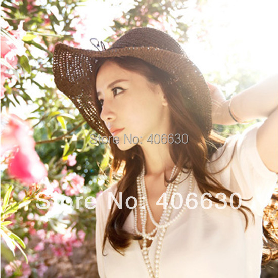 Sol de praia chapéus para mulheres, Meninas aba larga palha chapéu flexível, Sombrero, Sunbonnet