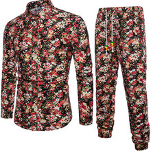 Male Holiday Floral Shirts And Pants Set Small Flowers Printed Suit Mature Man Elegant Party Suits Long Sleeve Autumn Clothing