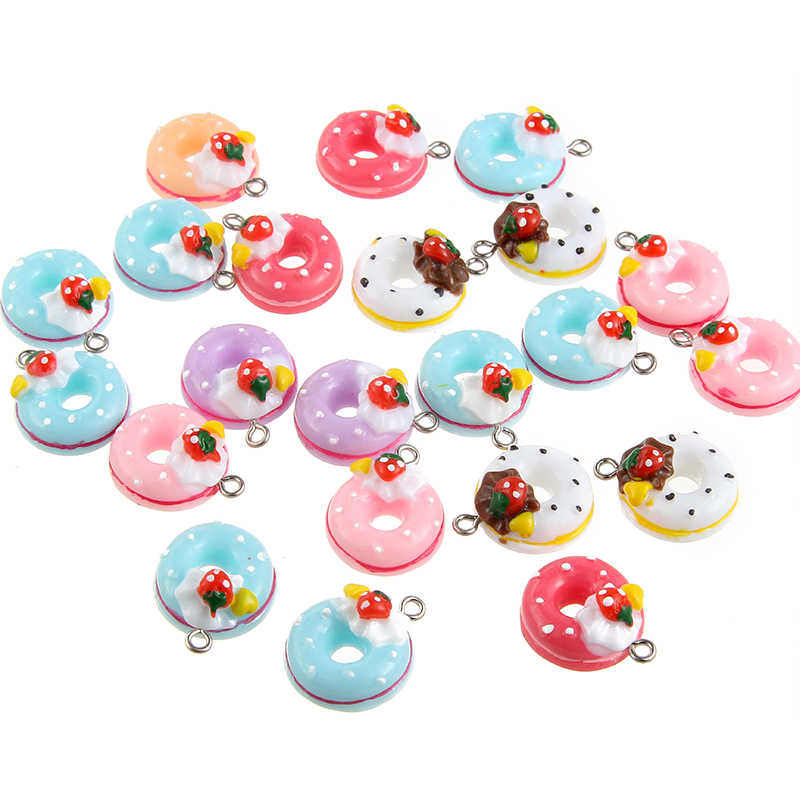 Wholesale New Arrival Mixed Pendant Imitation Food Doughnut Charms Pendant For Woman Girls DIY Necklace Jewelry Making 10pcs