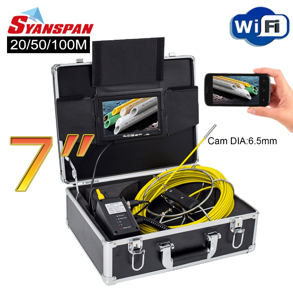SYANSPAN 7 WiFi 20/50/100M Pipe Inspection Video Camera,Drain Sewer Pipeline Industrial Endoscope support Android/IOS 6.5mm Cam dhl free wp90 50m industrial pipeline endoscope 6 5 17 23mm snake video camera 9 lcd sewer drain pipe inspection camera system