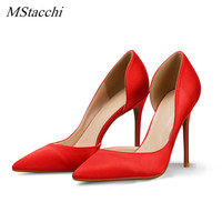 Mstacchi Spring Autumn Open Side Thin Heels Pumps Shallow Red Color Stiletto Shoes High Quality Silk High Heels Wedding Shoes