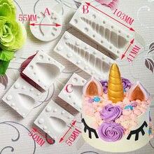 Luyou 5pcs/set 3D Unicornio Ear Eye Silicone Mold Birthday Cake Decorating Tools