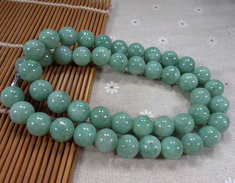 Красивый большой натуральный ледяной зеленый бисер ожерелье