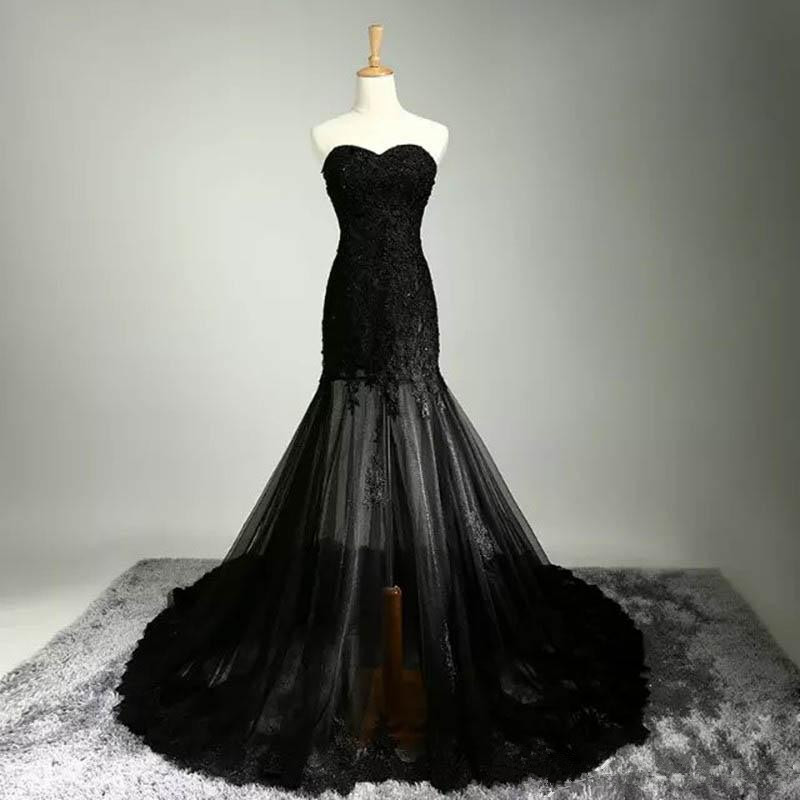 Gothic mermaid black wedding dresses sweetheart beaded for Vintage beaded lace wedding dress