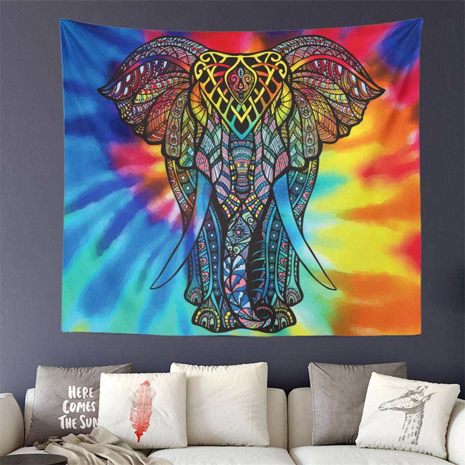 Tie Dyeing Elephant Painted Tapestry