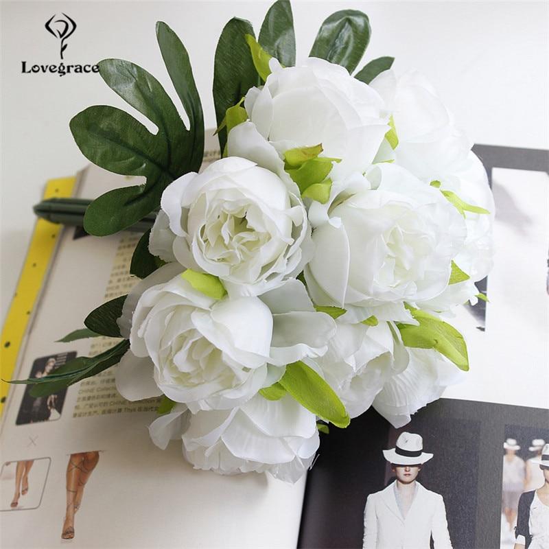 Lovegrace Artificial Flower Bouquet 10 Heads Silk Rose Decorations DIY Bridal Flower Bouquet Mariage Wedding Bouquets
