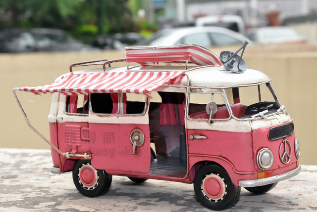 vw bus camping car rv model vintage handmade metal classic cars model in diecasts toy vehicles. Black Bedroom Furniture Sets. Home Design Ideas