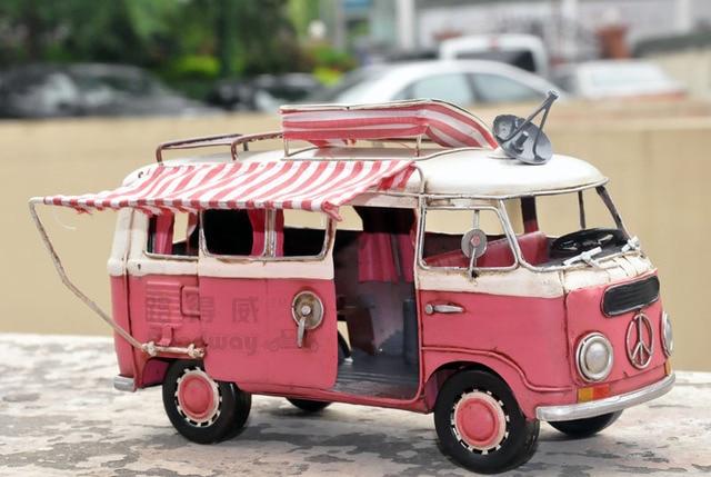 Vw Bus Camping Car Rv Model Vintage Handmade Metal Classic Cars