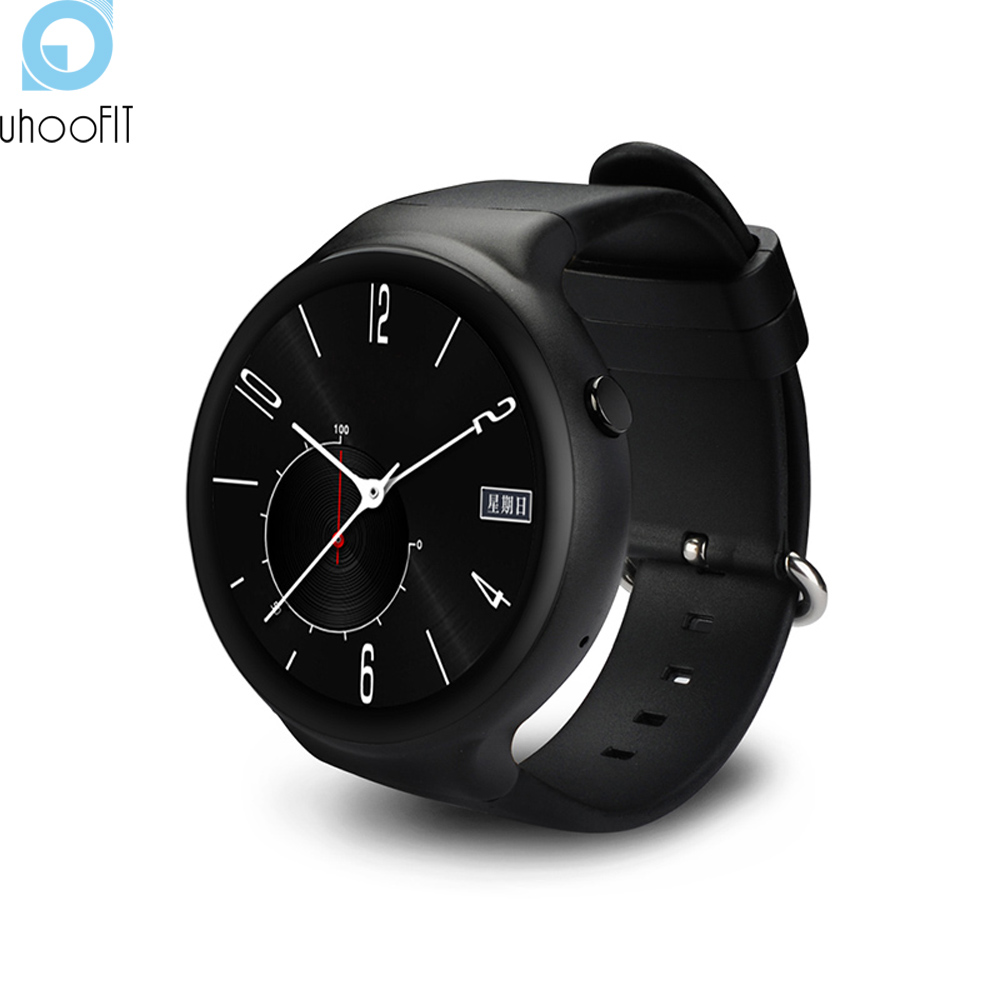 Uhoofit I4 smart watch android os MTK 6580 quad-core 1.3GHz phone support WIFI heart rate Pedometer Google map RAM 1GB ROM 16GB