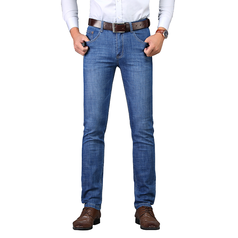 2018 New Mid Weight Spring Summer Younger Mid-waist Straight Casual Full Length Zipper Fly Fashion Distressed Hole Men Jeans