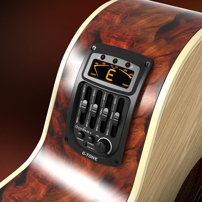 Cherub GS-3 Acoustic Guitar Onboard Preamp 4-Band EQ Qualizer Built-in Chromatic Tuner Phase Reversal LCD Display Guitar Pickup
