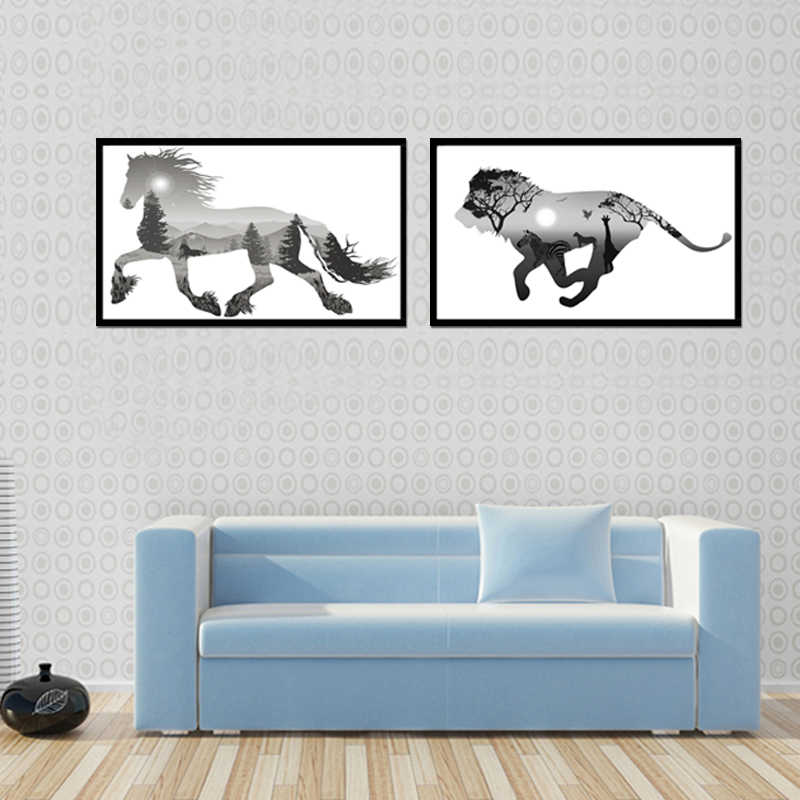 TOP Sale 2 Piecest/Set Animal series poster series Canvas Painting Sitting Room Decoration Print Canvas Pictures No Framde