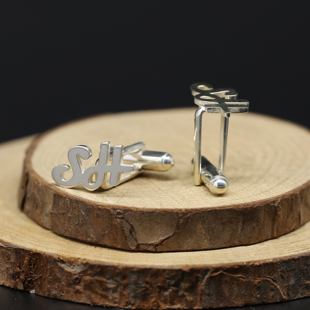 925 Sterling Silver Cufflink 2 Initials Customized Letters Cuff Link Men Jewelry Personalized Father Gift