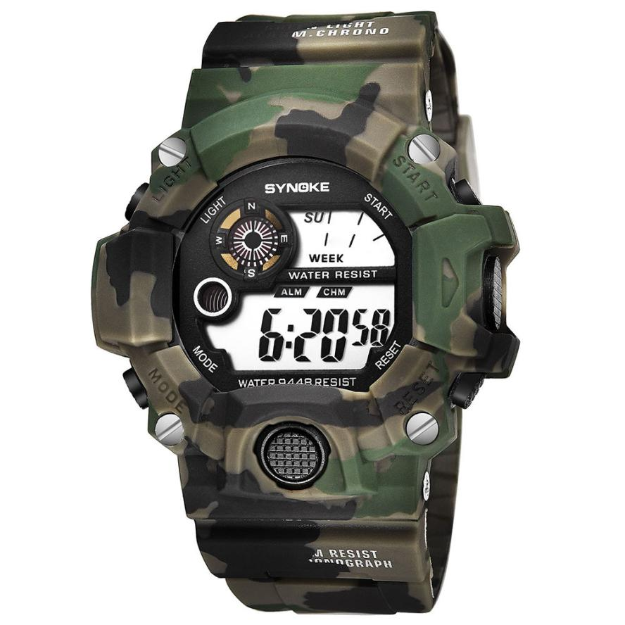 SYNOKE Relogio Masculino Military Multi Function Sports Watches Color Alarm LED Digital Dual Movement WristWatch Back Light L30