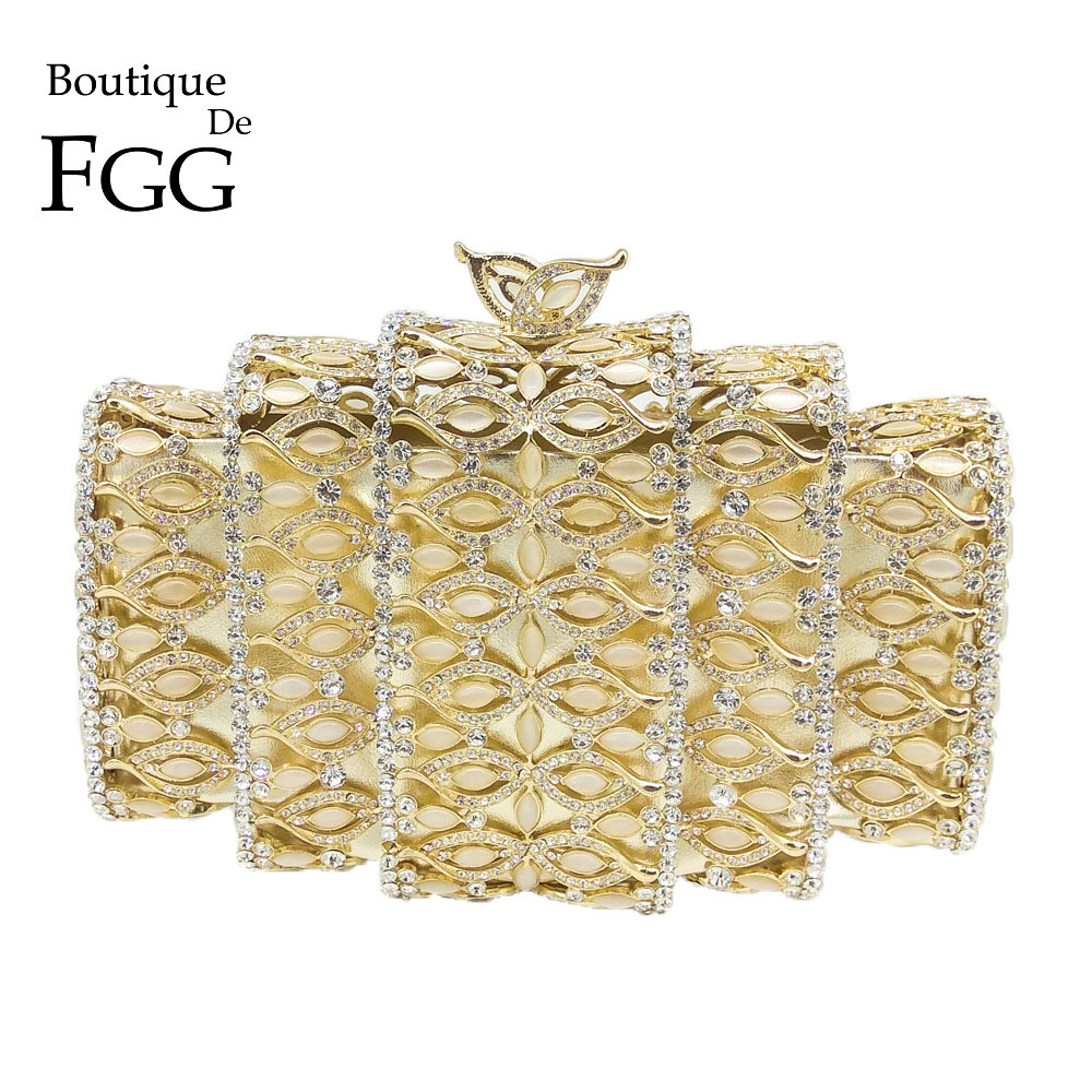 Boutique De FGG Dazzling Gold Crystal Women Evening Bags Hollow Out Stones Beaded Wedding Clutch Bridal Diamond Minaudiere Purse gold plating floral flower hollow out dazzling crystal women bag luxury brand clutches diamonds wedding evening clutch purse