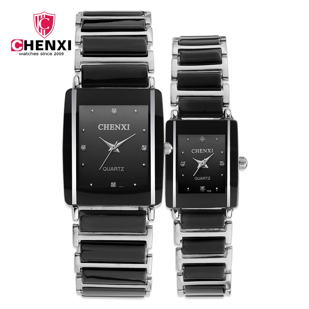 CHENXI Fashion Couple Watches Women Men Lover's Wristwatch Unique Rhinestone Ceramics Black Casual Quartz Best Gift 2 Piece