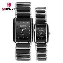 CHENXI Мода Пара Часы Для женщин Для мужчин Любителя наручные часы Уникальный горный хрусталь керамика черная Повседневное кварцевые Best подарок 2 шт.