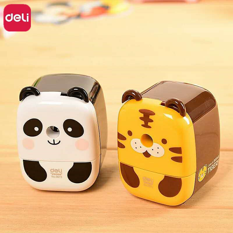 цены Deli Manual Panda Tiger Model Pencil Sharpener Hand Crank Mechanical Accessories On Pencils Stationery office school Supplies