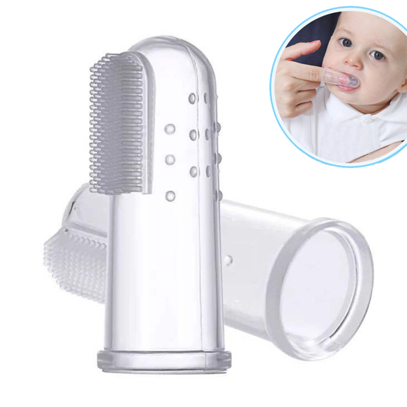 Baby Toothbrush Infant Silicone Finger Brush Kids Rubber Cleaning Brush Massager Set for Baby Boys Girls Teethbrush Dental Care image