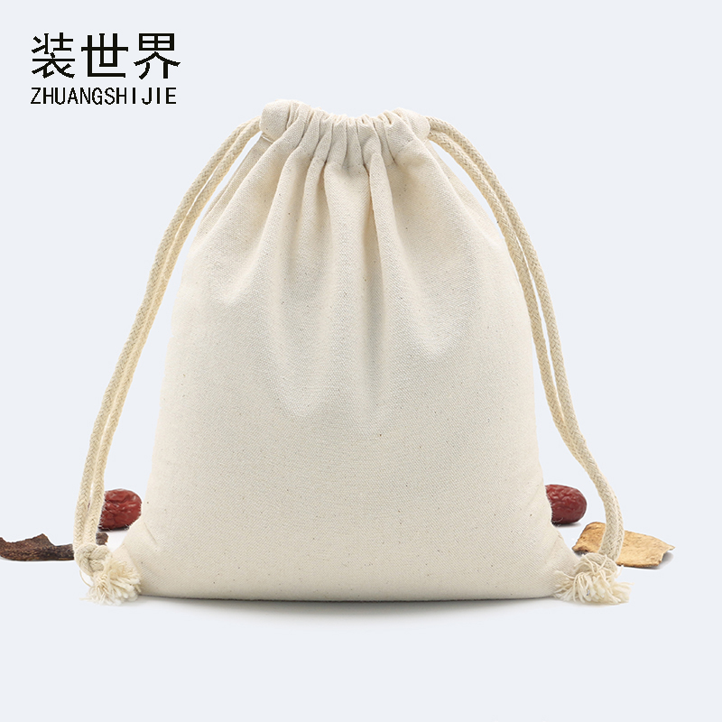 39*48cm Multi-purpose 260g Cotton Canvas Drawstring Bag Custom Logo Print Food Packing Christmas Gift Travel Organizer Storage