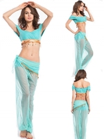 FREE SHIPPING Sexy Arabian Princess Belly Dancer Genie Ladies Fancy Dress Halloween Costume