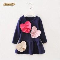 패션 패치 워크 사랑 심장 어린이 긴 소매 드레스 봄 새로운 디자인 유아 캐주얼 의류 아이 긴 티셔츠 드레