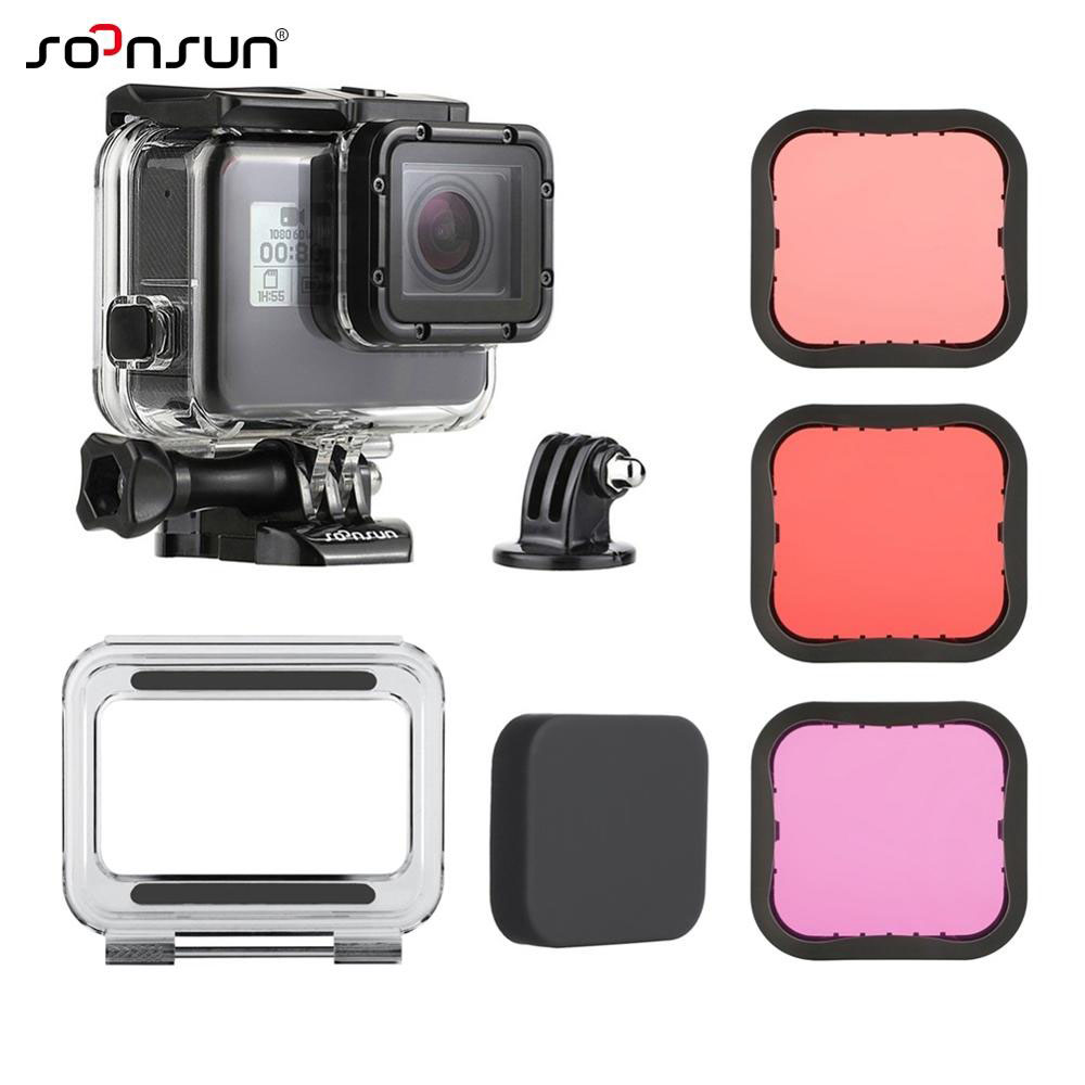 SOONSUN 45M Waterproof Housing Underwater Case Dive Color Lens Filter For GoPro Hero