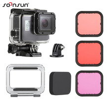 SOONSUN 45M Waterproof Housing Underwater Diving Case + Dive Color Lens Filter Kit for GoPro Hero 5 6 7 Black Go Pro 7 Accessory