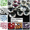 50000 pcs ss12 3mm Resina Strass Flatback Cores Normal #01-#18 Backing Prata Beads Forma Redonda usar Cola de Artesanato DIY Suprimentos