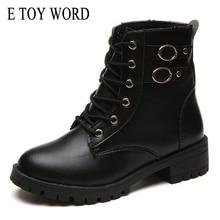 E TOY WORD Motorcycle Boots Women Vintage Rivet Combat Army Punk Black Ankle Boots for women Biker Leather Autumn women boots