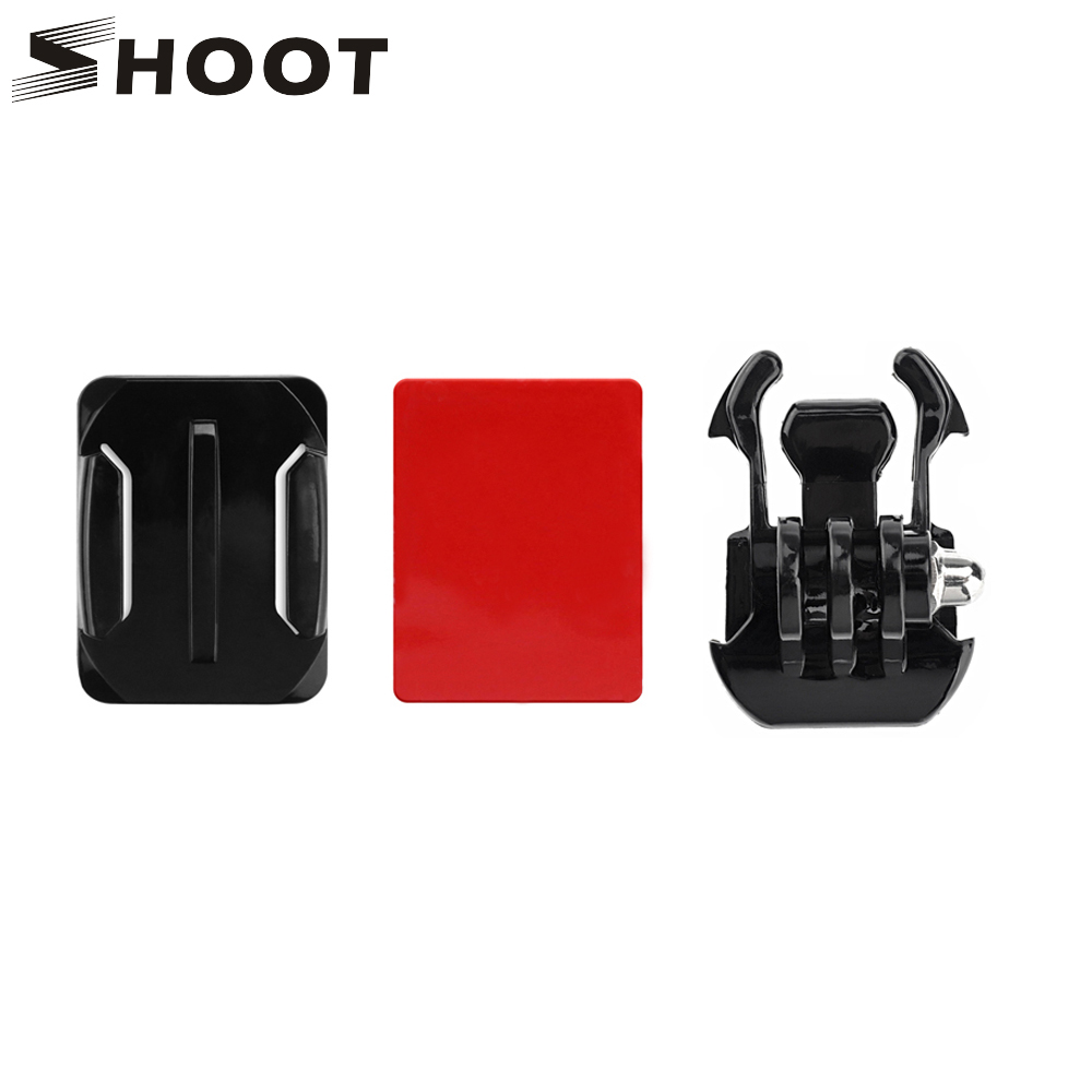 SHOOT Hook Buckle Basic Mount +Curved Surface Mount with Adhesive Sticker for GoPro Hero 6 5 4 SJCAM Yi 4k h9 Camera Accessories miniisw m ac universal curved surface mount kit for gopro hero 4 3 3 hero2 hero sj4000 black