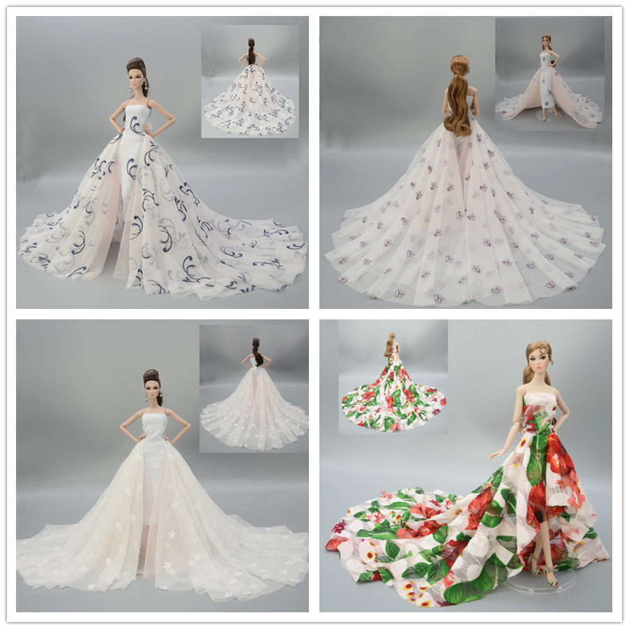 Gorgeous Long Tail Wedding Dress Colorized Flower Lace Party Gown Outfit Clothing For 1/6 BJD Xinyi FR ST Barbie Doll 2019 New