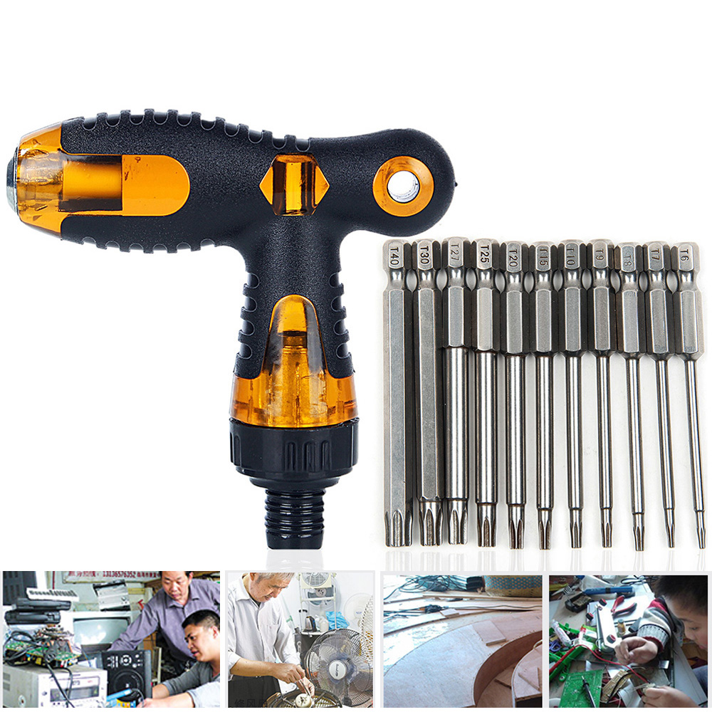 Hakkin 12pcs Screwdriver Set T Style Handle Repair Tools Screwdrivers Kit For Torx Head Screwdriver Handle Ratchet Wrench Handle