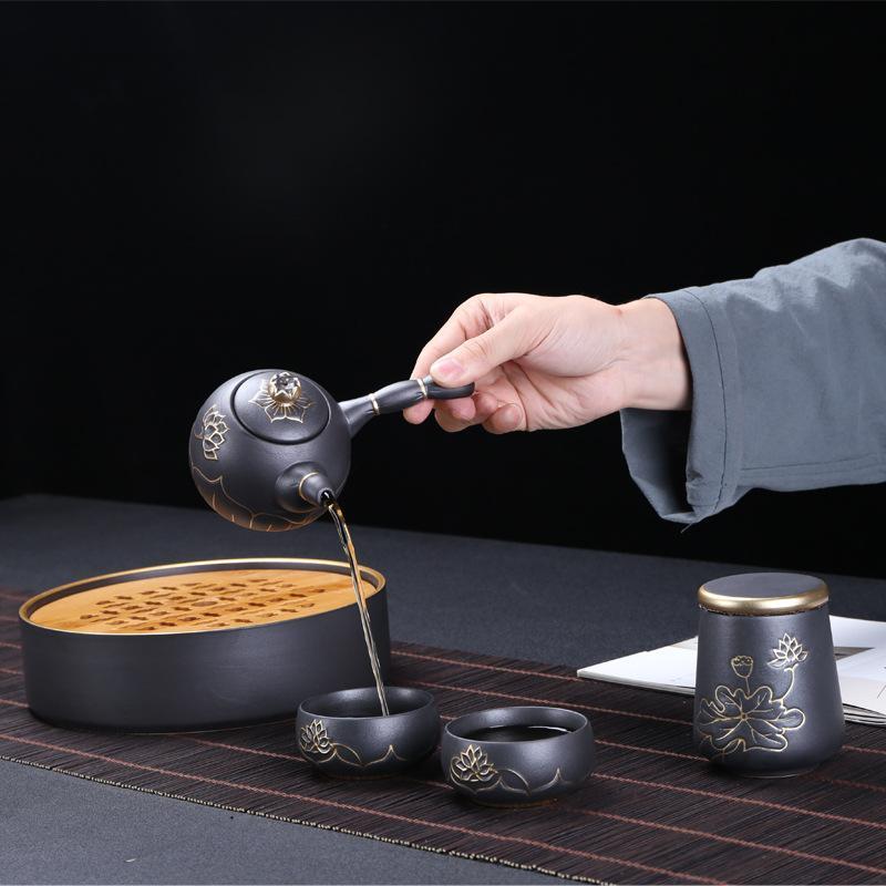 Traditions chinoises Gai Wan thé tasse ensembles de thé violet sable chinois Kung Fu thé ensemble porcelaine Teaware ensemble Gaiwan thé Pot ensemble cadeau