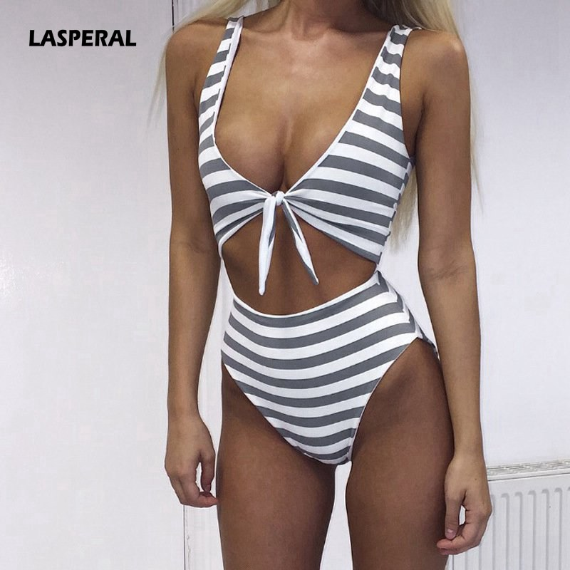 LASPERAL 2018 Sexy One Piece Swimsuit Hollow Out Striped Print Swimwear Push Up Bathing Suit Monokini Bodysuit Women Jumpsuits nidalee plus size swimwear one piece swimsuit women sexy deep v neck print beach bathing suit push up skirt bodysuit monokini
