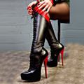 SHOFOO shoes. Fashion novelty free shipping, multi color leather, 14.5 cm high heel boots, knee-high boots.SIZE:34-45