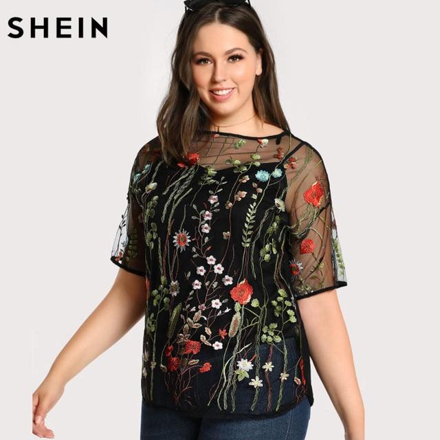 f46086f44 SHEIN Preto Plus Size Moda Blusa Transparente Bordado Sexy Malha Blusa  Feminina Primavera Outono Manga Curta