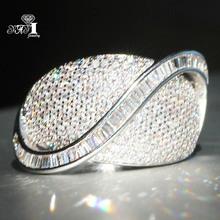 YaYI biżuteria księżniczka Cut 5 7 CT biały cyrkon kolor srebrny pierścionki zaręczynowe obrączki obrączki ślubne dziewczyny pierścionki Party prezenty tanie tanio Moda Zaręczyny Zespoły weselne Kobiety Cyrkonia TRENDY 20mm Prong ustawianie yayi jewelry Geometryczne HR782 Miedzi Brak