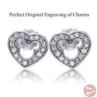 Engraving Charms Ear Stud Mickey Silhouette Tassel Earrings For Women S925 Silver Jewelry