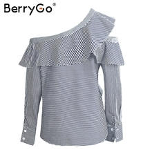 BerryGo Summer blouses and shirts chemise femme One shoulder blouse shirt women tops Ruffle long sleeve striped shirt blusas
