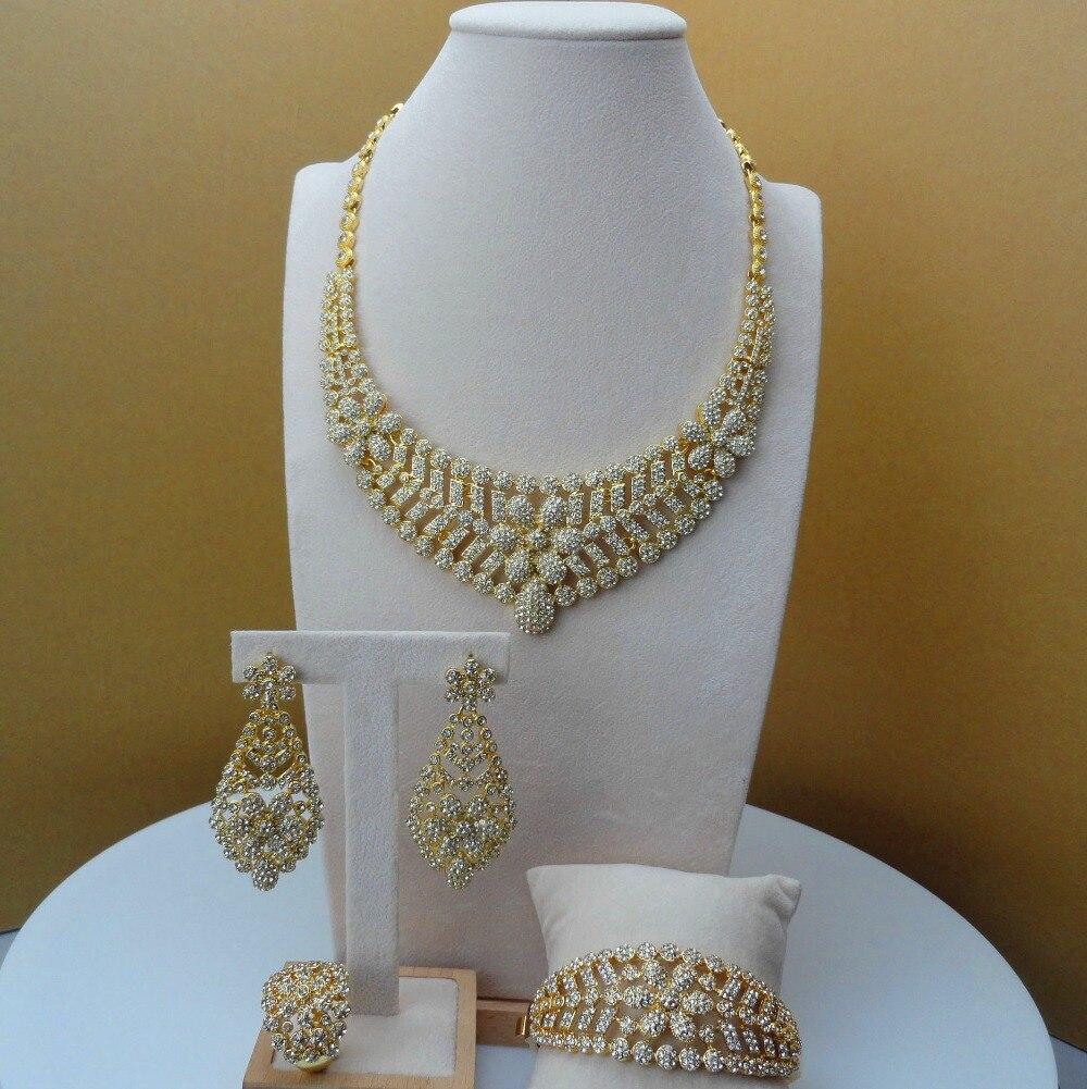 2019 Yuminglai Dubai Jewelry Fancy Rhinestone Jewellery Sets for Women Party FHK5978