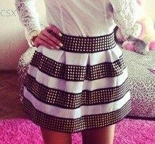 Fashion Stripe Ball Gown Skirt female Women's Girls 2014 New Arrival Stretch Punk High Waist Pleated Sexy Short Skirt 29
