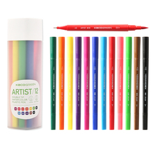 лучшая цена KACO ARTIST 12 Colors Double Tip Watercolor Pens Non-toxic Safe Student Children Painting Graffiti Art Markers Drawing Set