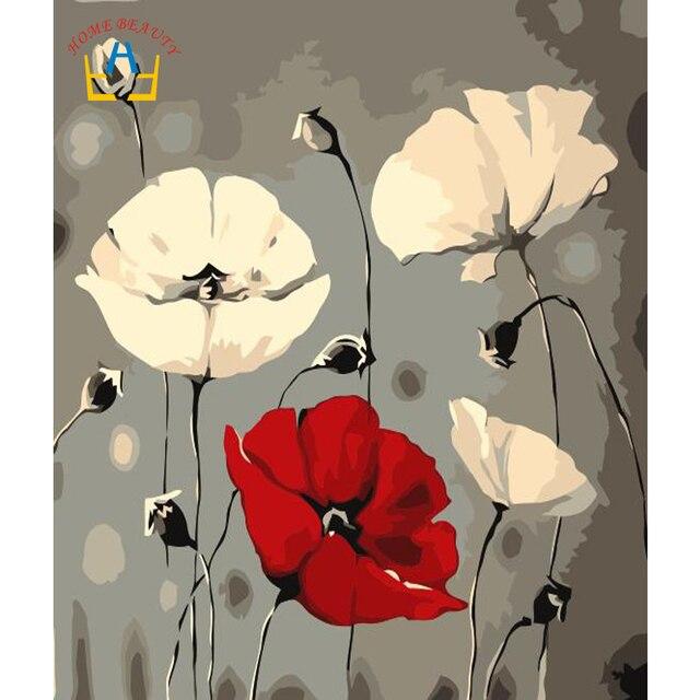 979 Aliexpresscom Comprar Diy Pintura Al óleo Por Números Enmarcado Lienzo Pintura Cuadros De Flores Para Dibujar Decoración Del Hogar